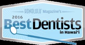Honolulu Magazine's 2016 Best Dentists in Hawaii seal